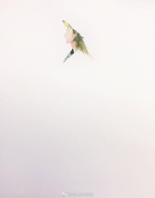 优雅的女性侧身水彩画图片 简单的穿裙子女生侧面水彩画怎么画画法教程步骤_www.youyix.com