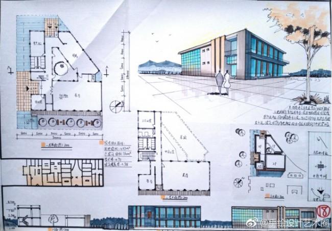 马克笔建筑效果图 平面布置图 立面图 建筑外观效果图_www.youyix.com