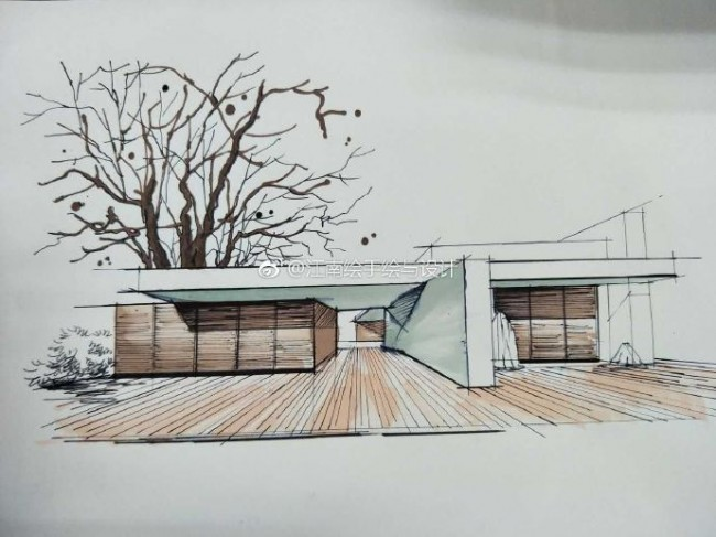 现代简约建筑马克笔效果图手绘教程图片 带步骤和实景照片对比_www.youyix.com