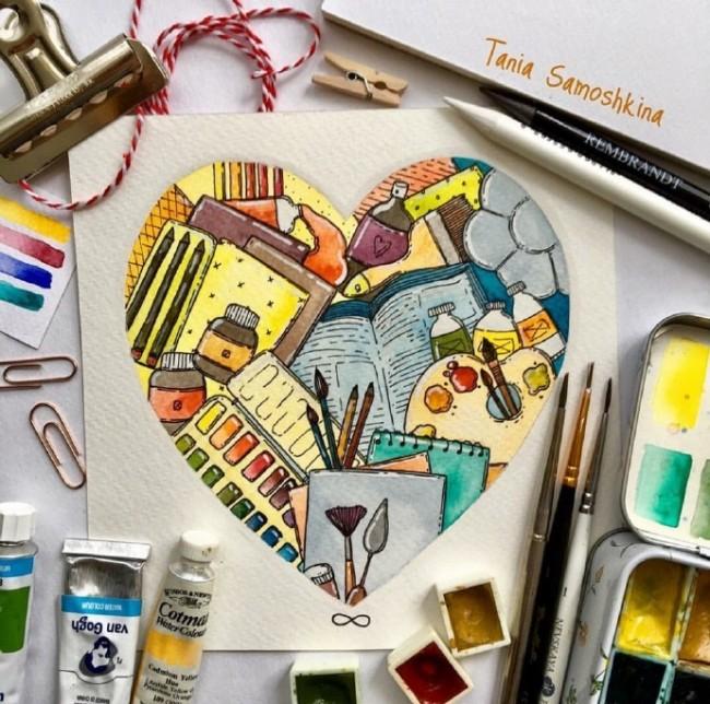 创意温馨的心形水彩插画图片 心形唯美水彩插画作品_www.youyix.com