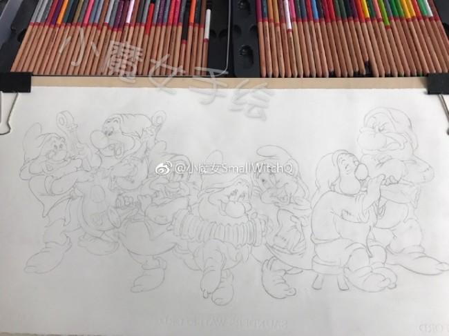 七个小矮人彩铅画图片 白雪公主与七个小矮人彩铅画怎么画 画法教程_www.youyix.com