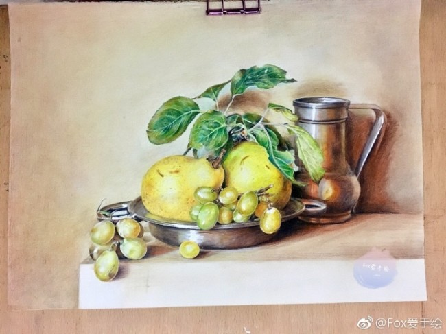 李子葡萄杯子盆子彩铅景物手绘教程图片 过程步骤画法_www.youyix.com