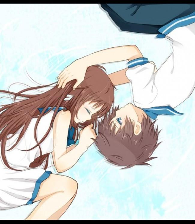 一组感觉很美好的二次元情侣恋爱画面的动漫插画_www.youyix.com