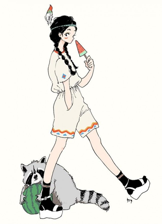 充满活力和小清新的二次元女生插画 有你的影子吗?_www.youyix.com