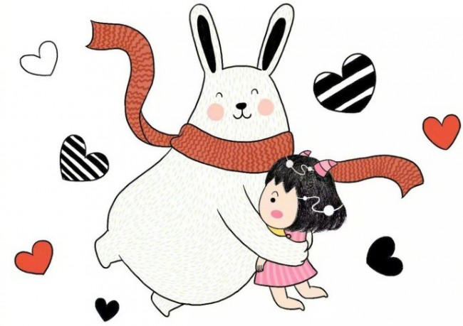 可爱又温馨的小女孩和兔子治愈系插画图片 画风有点童真是很有爱_www.youyix.com