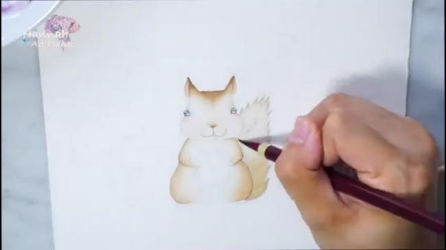 教程/童话故事水彩插画手绘 可爱的小松鼠想什么呢?_www.youyix.com