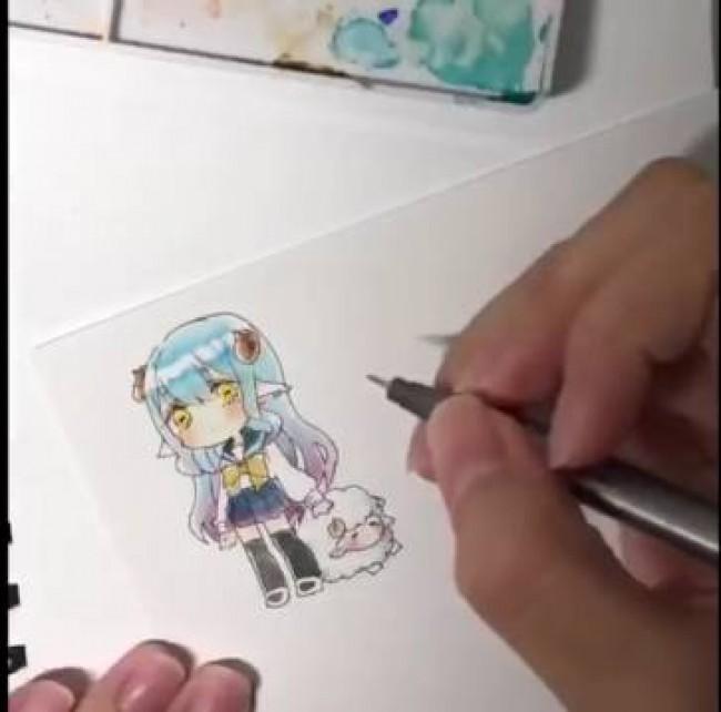 Q版卡哇伊小萝莉水彩手绘教程,被她萌到了吧~_www.youyix.com