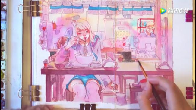 一手吃面,一手逗猫的女孩水彩画手绘教程_www.youyix.com