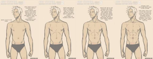 常听说男人6快腹肌 真的是6块吗?画人物不可避免的腹部结构_www.youyix.com