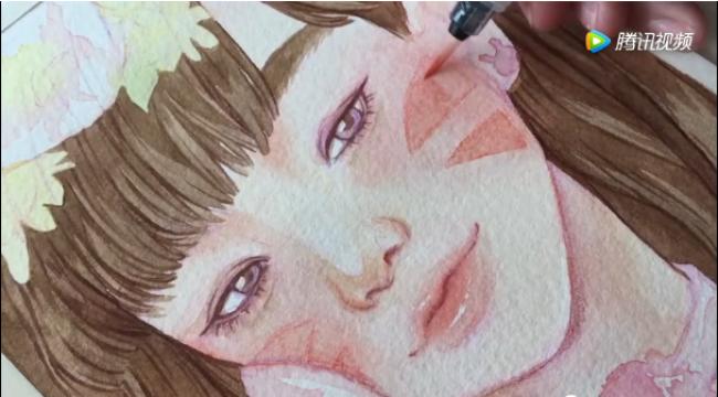 纯情的玩手机女孩水彩手绘 画的不就是屏幕前的你吗?_www.youyix.com