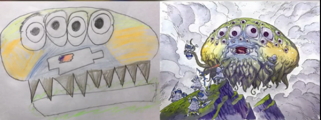 画师在孩子的涂鸦基础上创作 稚嫩和大神作品的对比_www.youyix.com
