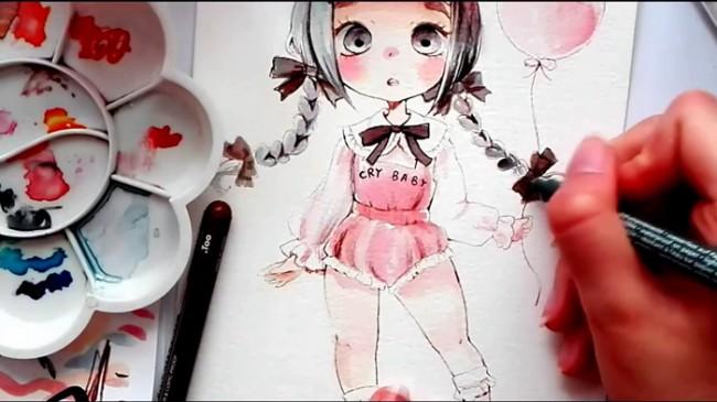 【视频】牵着气球的可爱小女孩水彩手绘视频教程 可爱小萝莉水彩画法_www.youyix.com