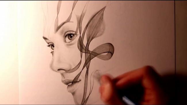 【视频】唯美创意的侧面女生素描画 如烟的女人创意素描视频教程_www.youyix.com