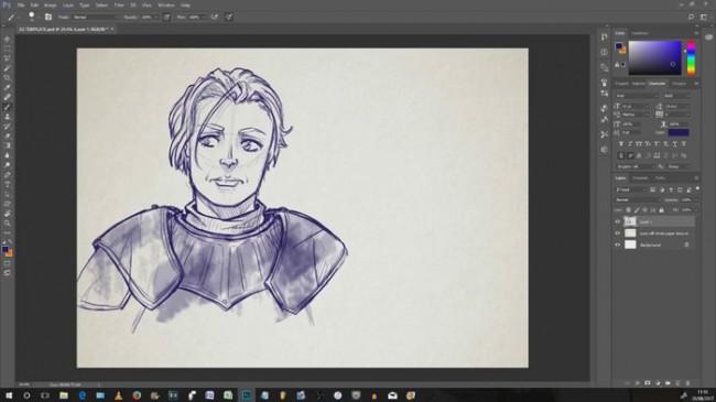 【视频】PS板绘演示中世纪女铠甲武士CG人物绘画过程 线稿是重点 硬派画法_www.youyix.com