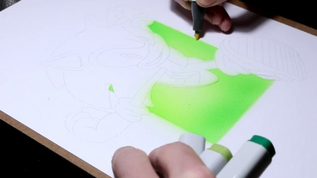 【视频】可爱的刺猬索尼克卡通形象克马克笔上色视频手绘教程_www.youyix.com