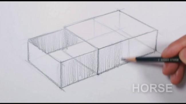 【视频】简单的长方体素描怎么画?长方体的实心和空心盒子素描画法演示!_www.youyix.com