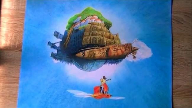 【视频】宫崎骏天空之城彩铅手绘视频教程 天空之城怎么画 悬浮在空中的城堡_www.youyix.com
