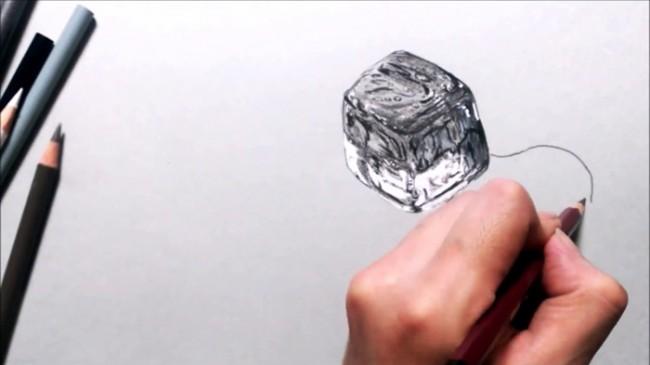 【视频】彩铅素描冰的质感怎么画 超写实融化中的冰块素描视频手绘教程_www.youyix.com