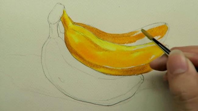【视频】简单真实的香蕉水彩手绘视频教程 一串黄香蕉的画法_www.youyix.com