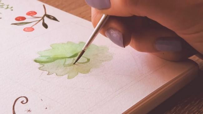 【视频】唯美清新的水彩手账封面图手绘视频教程 植物系图案水彩画法_www.youyix.com
