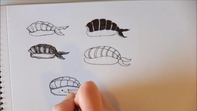 【视频】简单又可爱的寿司水彩手绘视频教程 寿司简笔画视频教程_www.youyix.com