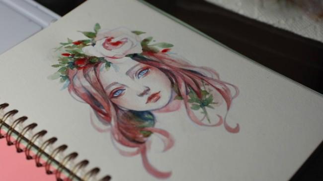 【视频】超美的森系女孩水彩手绘细化上色 带鲜花头饰的唯美少女_www.youyix.com