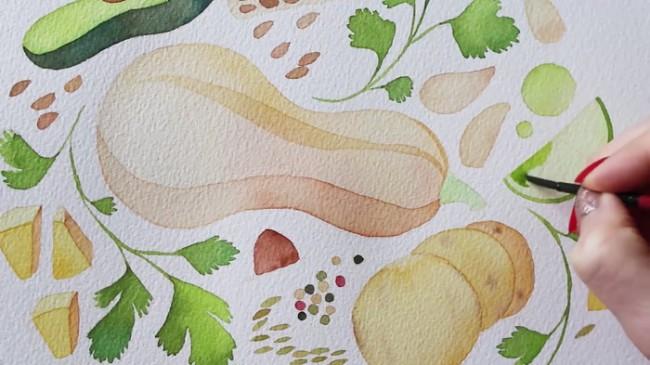 【视频】小清新叶子水果水彩图案手绘视频教程 作为手账封面很好_www.youyix.com