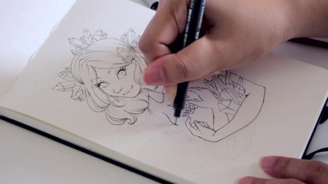 【视频】超美的水晶森系女孩水彩手绘视频教程 很仙的女生_www.youyix.com