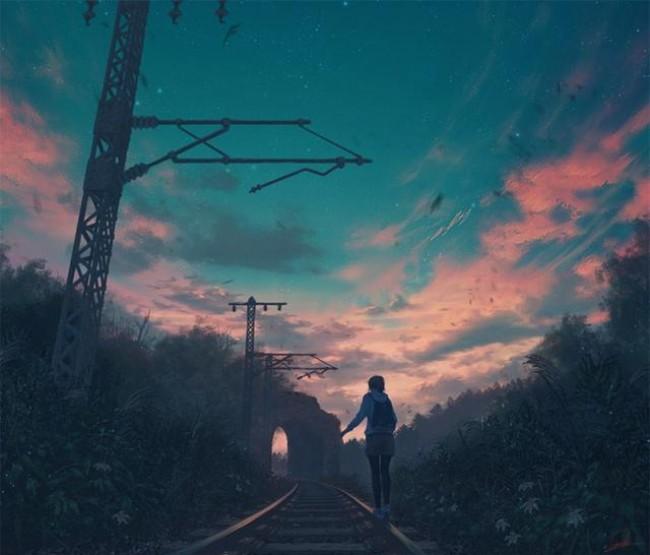 【美图】表现孤独的唯美插画图片 二次元女生背影插画作品新手_www.youyix.com