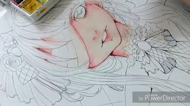 【视频】好看的病娇女孩脸部水彩上色示范视频教程 蒙着眼睛的女生_www.youyix.com