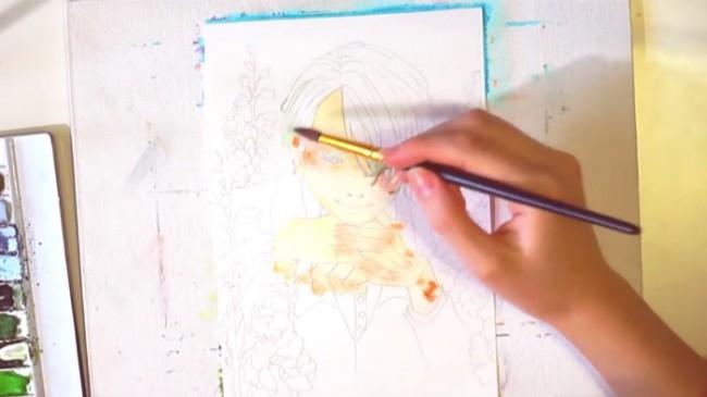 【视频】沉思的花美男水彩手绘视频教程 美男子动漫人物插画_www.youyix.com