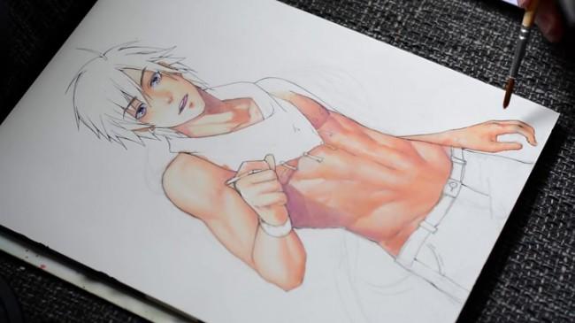 【视频】好身材秀腹肌的二次元美男动漫人物手绘视频教程_www.youyix.com