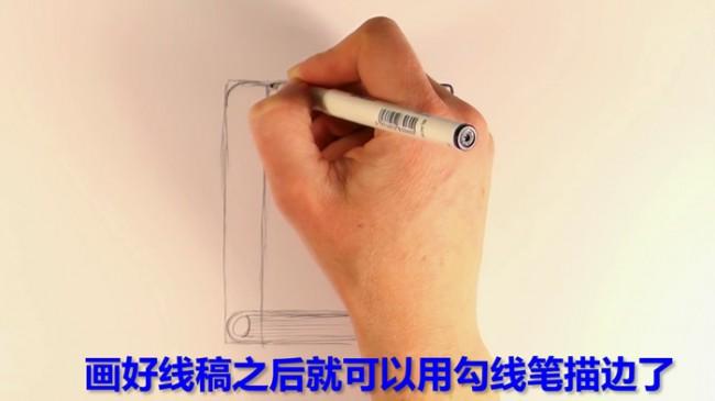 【视频】简单的书籍笔记本简笔画手绘视频教程画法_www.youyix.com