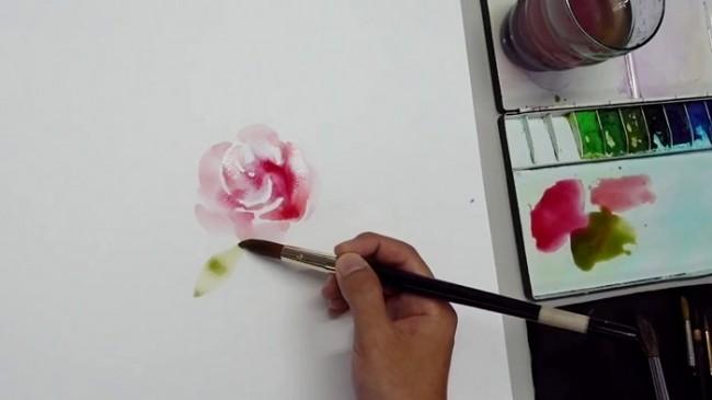 【视频】简单的水彩玫瑰花水彩手绘视频教程 零基础跟着画也可以_www.youyix.com