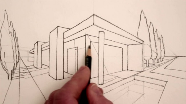 【视频】规范的两点透视建筑水彩效果图手绘视频教程 演示两点透视_www.youyix.com