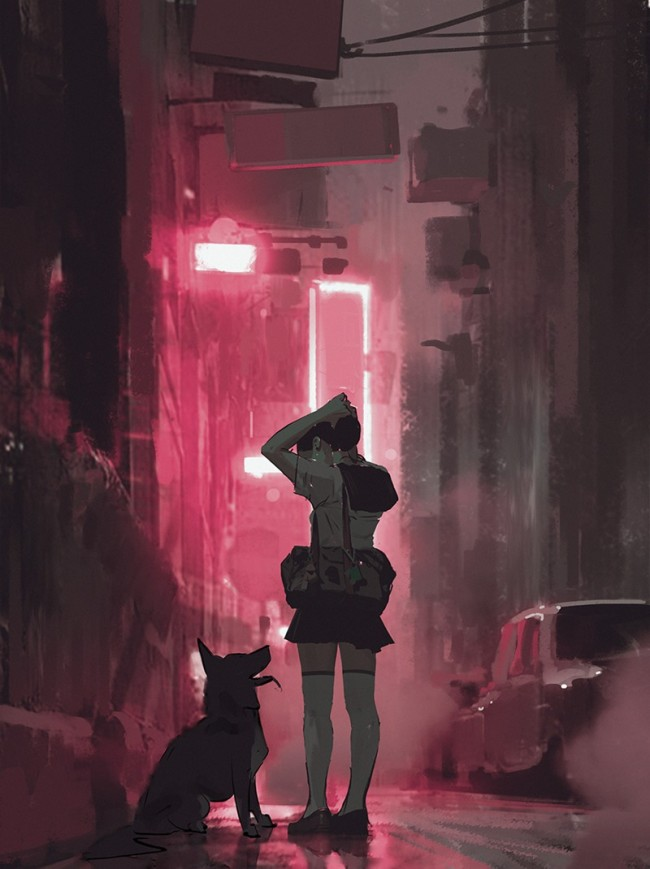 唯美有意境的孤独感少女插画图片 独自一个人二次元少女插画_www.youyix.com