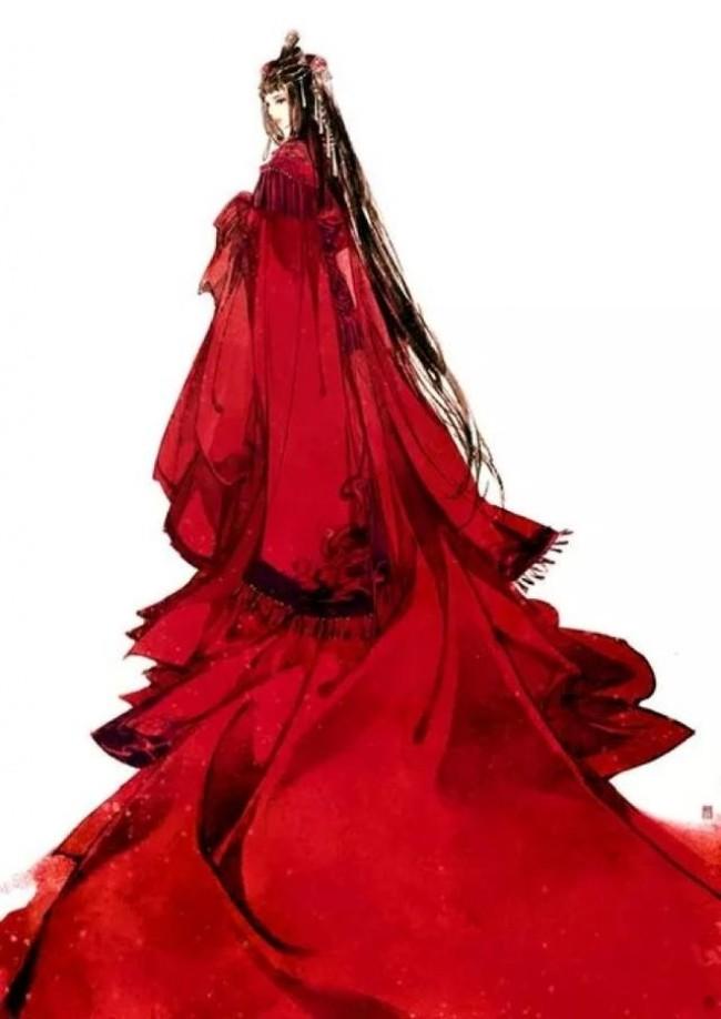 唯美古风新娘子插画图片 中国传统古风女子新娘婚纱插画美图_www.youyix.com