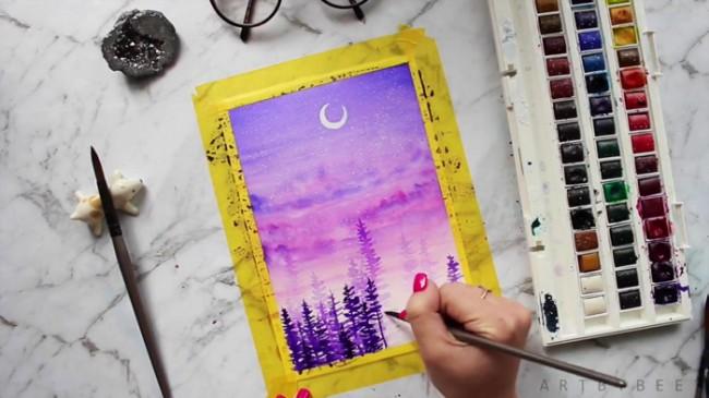 【视频】唯美有意境的夜空下森林风景水彩手绘视频教程 夜晚森林水彩图片_www.youyix.com