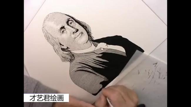 【视频】针管笔画类似钞票上的人物肖像效果 精湛的针管笔人像_www.youyix.com