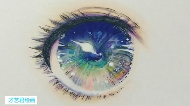 【视频】超美的星空般的动漫眼睛马克笔上色手绘视频教程_www.youyix.com