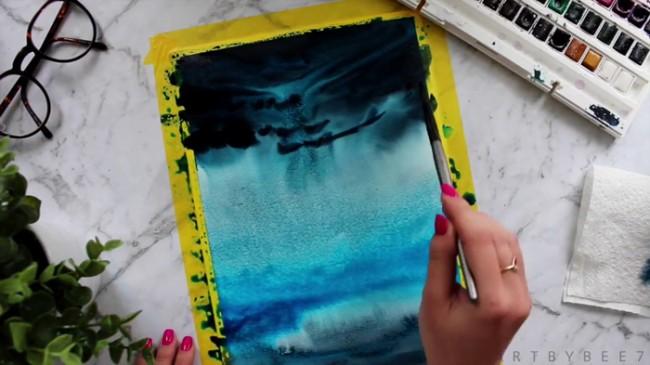 【视频】唯美意境水彩画星夜空下的少女手绘视频教程 唯美夜空下的少女背影怎么画_www.youyix.com