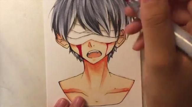 【视频】有意境的蒙着眼睛流血的男生马克笔上色手绘视频教程 病娇残娇风_www.youyix.com