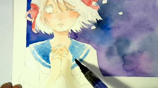 【视频】唯美星空下哭泣的女子动漫画水彩手绘视频教程 有意境哭泣的女生_www.youyix.com
