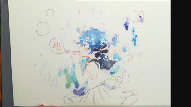 【视频】唯美可爱的吹泡泡的女生小萝莉动漫画水彩手绘视频教程_www.youyix.com