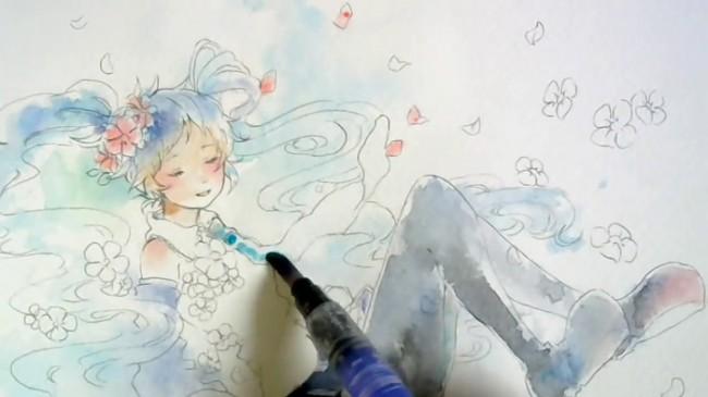 【视频】很飘逸的水彩初音公主殿下手绘视频教程 很唯美好看的上色画法_www.youyix.com