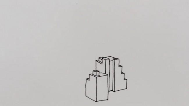 【视频】中性笔简笔画出整个城市风貌手绘视频 简单画出城市建筑的方法_www.youyix.com