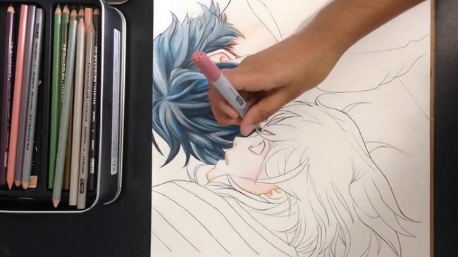 【视频】很有爱的情侣颠倒姿势睡觉彩铅动漫画人物手绘视频教程 爱情动漫_www.youyix.com