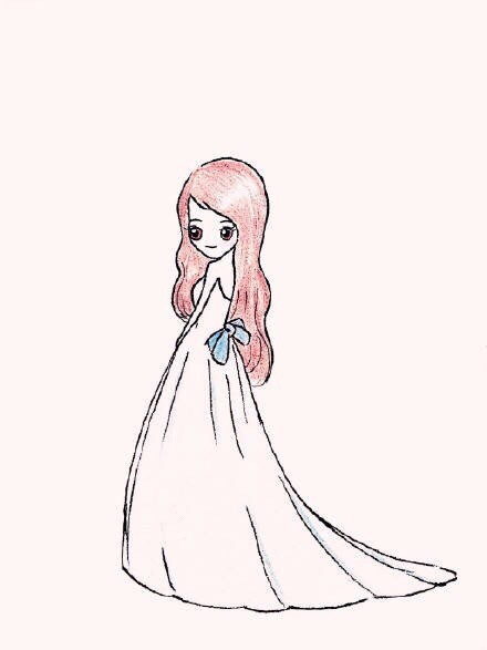 超简单的女生婚纱简笔画 没学过也可以画