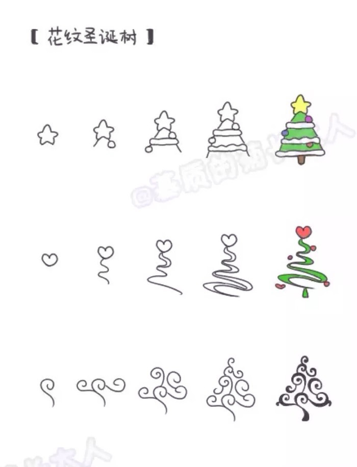 课可以以圣诞树为主题噢,画出来的圣诞树可以作为圣诞的装饰品呢。贴在墙上或者其他地方一定很好看。还可以画一个圣诞树贺卡送给妈妈和小朋友们呢。 是不是现在还不会画圣诞树呢?没有关系优艺姐姐今天就教小朋友画五款好看的圣诞树。小朋友们可以全部学会也可以只选择自己喜欢的哪一款来跟着画。 都是