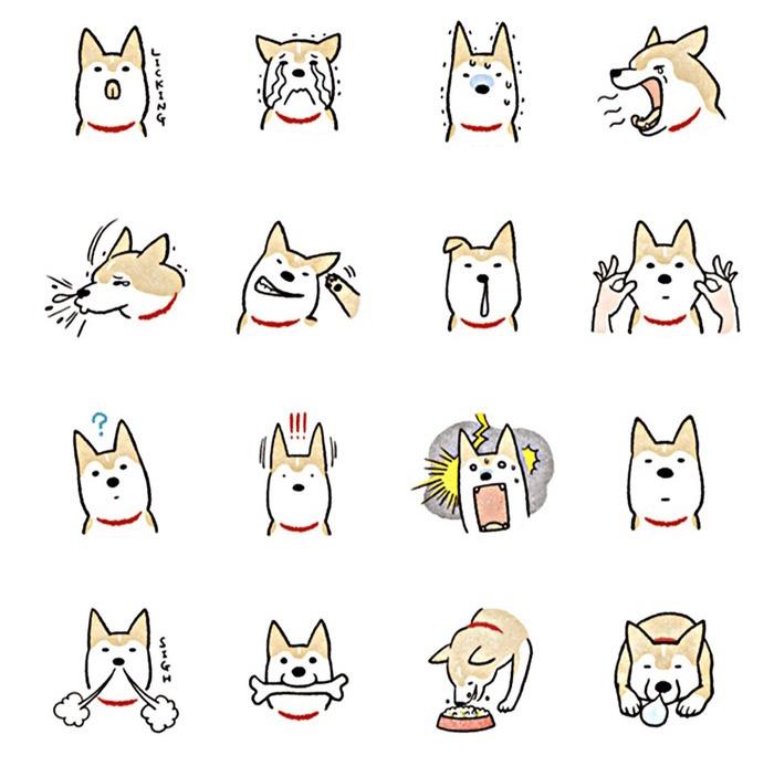28个狗狗头像动作卡通简笔画展示素材